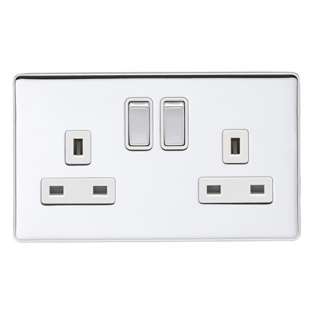 Eurolite ECPC2USBPCW 13A 2 Gang Screwless Flatplate Polished Chrome Switched Socket with 3.1A USB Outlet