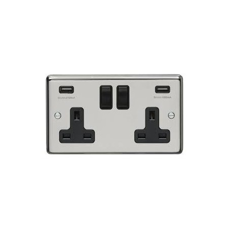 Eurolite PSS2USBB 13A 2 Gang Round Edge Polished Chrome Switched Socket With Combined 4.8 Amp Usb Outlets with Black Rockers