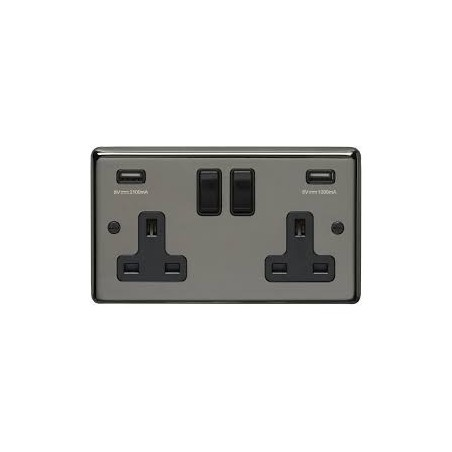 Eurolite BN2USBB 13A 2 Gang Round Edge Black Nickel Switched Socket With Combined 4.8 Amp Usb Outlets and Black Rockers