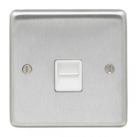 Eurolite SSS1SW 10A 1 Gang 2 Way Round Edge Satin Stainless Steel Plate/Brushed Chrome Switch with Matching Rocker