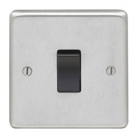 Eurolite SSSINTB 10A 1 Gang Round Edge Satin Stainless Steel/Brushed Chrome Intermediate Switch with Black Rocker