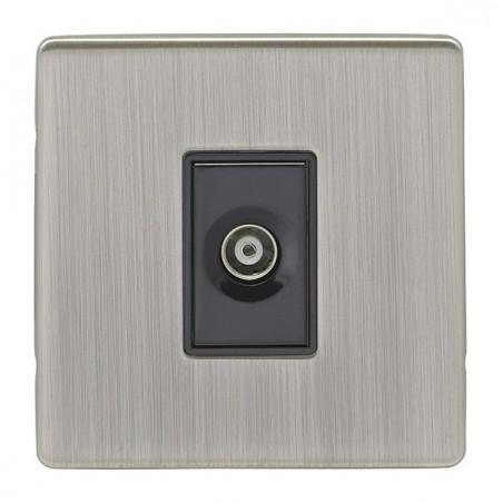Eurolite ECSN1TVB 1 Gang Screwless Flatplate Satin Nickel/Brushed Nickel Tv Coaxial Socket with Black Interior