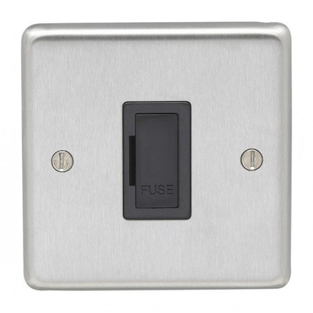 Eurolite SSSUSWFB 13A Round Edge Satin Stainless Steel/Brushed Chrome Unswitched Fuse Spur with Black Interior