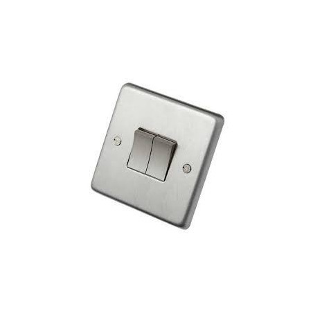 Eurolite SSS2SW 10A 2 Gang 2 Way Round Edge Satin Stainless Steel/Brushed Chrome Switch with Matching Rockers