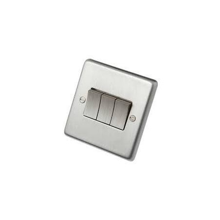 Eurolite SSS3SW 10A 3 Gang 2 Way Round Edge Satin Stainless Steel/Brushed Chrome Switch with Matching Rockers