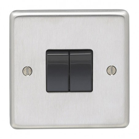 Eurolite SSS2SWB 10A 2 Gang 2 Way Round Edge Satin Stainless Steel/Brushed Chrome Switch with Black Rockers