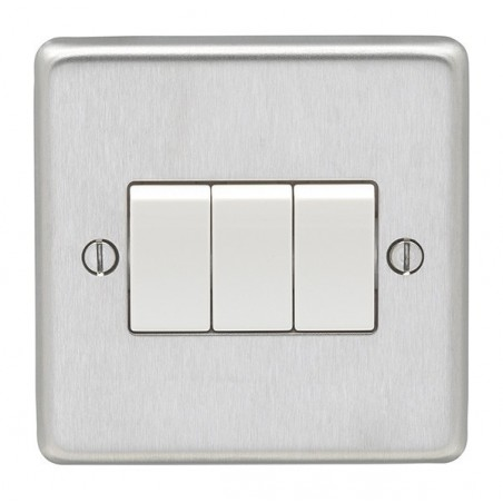 Eurolite SSS3SWW 10A 3 Gang 2 Way Round Edge Satin Stainless Steel/Brushed Chrome Switch with White Rockers