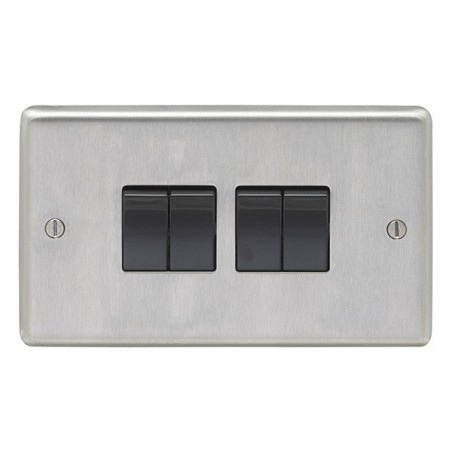 Eurolite SSS4SWB 10A 4 Gang 2 Way Round Edge Satin Stainless Steel/Brushed Chrome Switch with Black Rockers