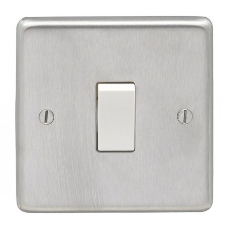 Eurolite SSS1SWW 10A 1 Gang 2 Way Round Edge Satin Stainless Steel/Brushed Chrome Switch with White Rocker