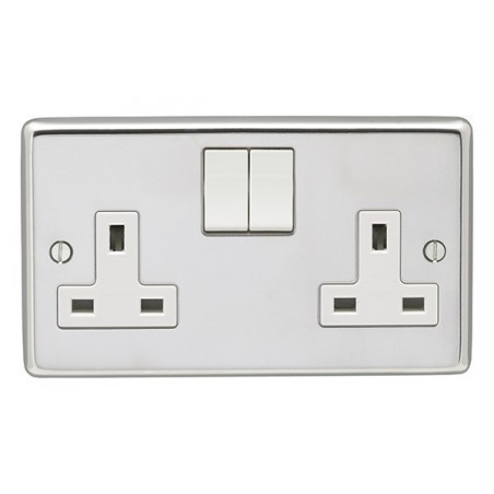Eurolite PSS2SOW 13A 2 Gang Double Pole Round Edge Polished Chrome Switched Socket with White Rockers