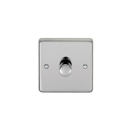 Eurolite PSS1DLED 1 Gang 2 Way LED Round Edge Polished Chrome Dimmer with Matching Knob (Push On/Off)