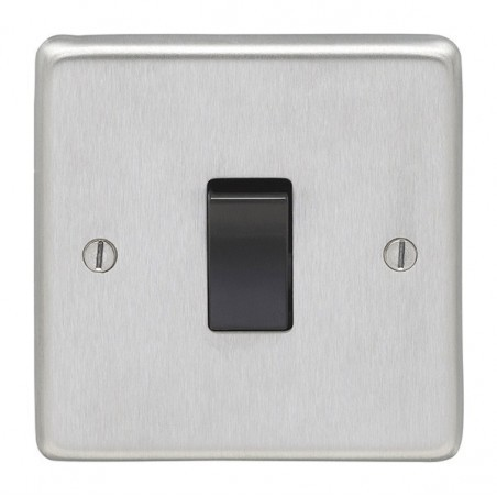 Eurolite SSS1SWB 10A 1 Gang 2Way Round Edge Satin Stainless/Brushed Chrome Switch with Black Rocker