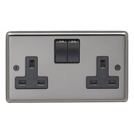 Eurolite BN2SOB 13A 2 Gang Double Pole Round Edge Black Nickel Switched Socket with Black Rockers