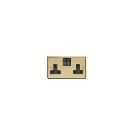 Eurolite SB2SOB 13A 2 Gang Double Pole Round Edge Satin Brass Switched Socket with Black Rockers