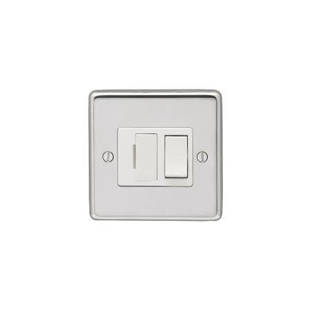 Eurolite PSSSWFW 13A Double Pole Round Edge Polished Chrome Switched Fuse Spur with White Rocker