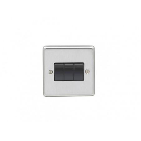 Eurolite SSS3SWB 10A 3 Gang 2 Way Satin Stainless Steel/Brushed Chrome Switch with Black Trim