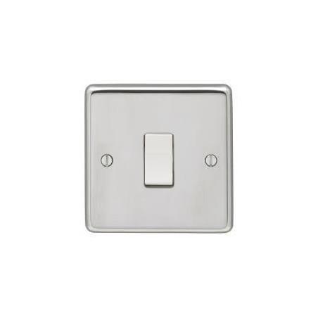 Eurolite PSS1SWW 10A 1 Gang 2 Way Round Edge Polished Chrome Switch with White Rocker