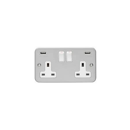 Eurolite MC2USBW 13A 2 Gang Metalclad Switched Socket With Combined 3.1 Amp Usb Outlets