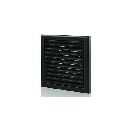 "Blauberg DECOR155X155/100SBLACK 100mm/4"" Black Fixed Louvred Grille/Outside Vent"