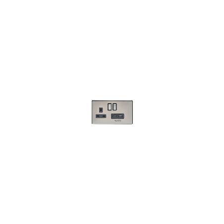 Eurolite ECPC2USBPCB 13A 2 Gang Screwless Flatplate Polished Chrome Switched Socket With Combined 3.1A USB Outlets