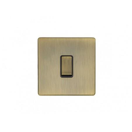 Eurolite AB1SWB 10A 1 Gang 2 Way Screwless Flatplate Antique Brass Switch with Matching Rocker