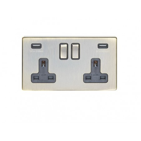 Eurolite AB2USBB 13A 2 Gang Screwless Flatplate Antique Brass Switched Socket With USB Outlet