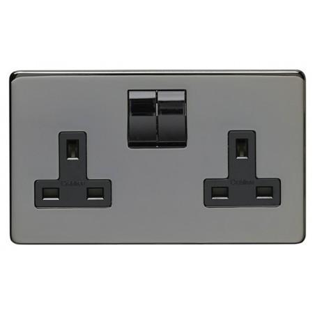 Eurolite CBN2SOB 13A 2 Gang Double Pole Screwless Flatplate Black Nickel Switched Socket