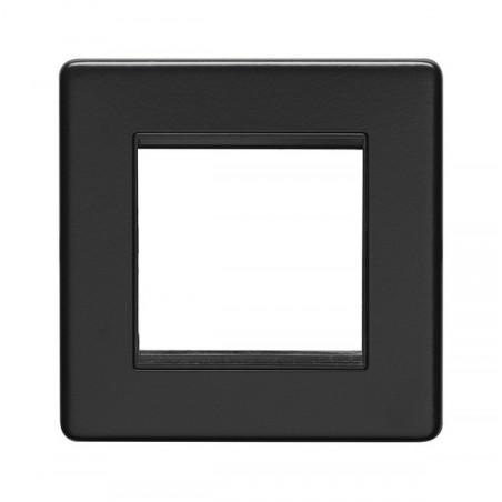 Eurolite ECMB2MODB 1 Gang 2 Module Screwless Flatplate Matt Black Frame with Black Interior