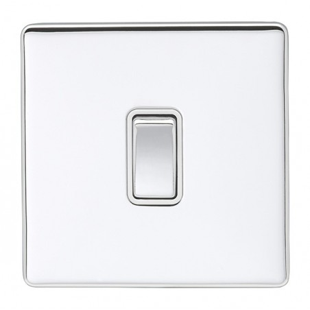 Eurolite ECPC1SWPCW 10A 1 Gang 2 Way Screwless Flatplate Polished Chrome Switch