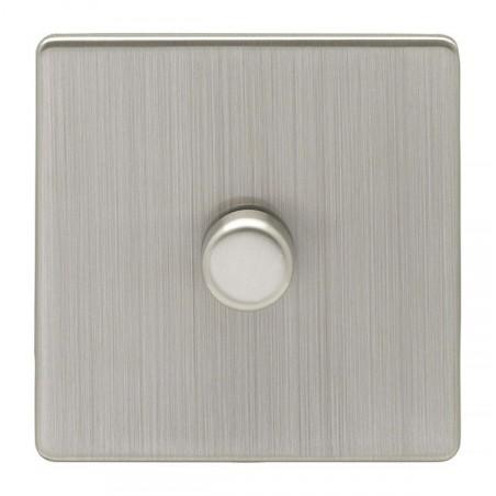 Eurolite ECSN1DLEDSNW 1 Gang 2 Way LED Screwless Flatplate Satin Nickel/Brushed Nickel Dimmer Switch (Push On/Off)