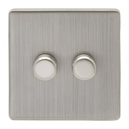 Eurolite ECSN2DLEDSNB 2 Gang 2 Way Screwless Flatplate Satin Nickel/Brushed Nickel Dimmer Switch (Push On/Off)