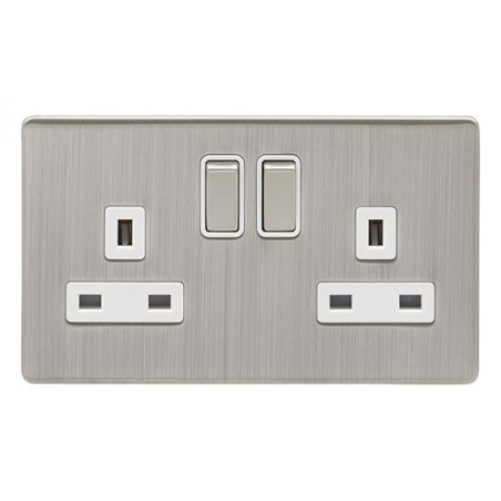 Eurolite ECSN2SOSNW 13A 2 Gang Double Pole Screwless Satin Nickel/Brushed Nickel Switched Socket