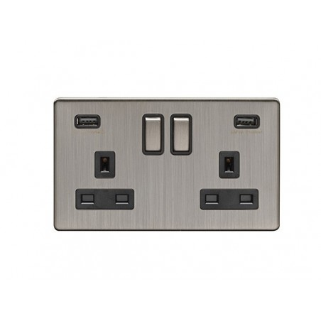 Eurolite ECSN2USBSNB 13A 2 Gang Screwless Satin Nickel/Brushed Nickel Switched Socket With USB