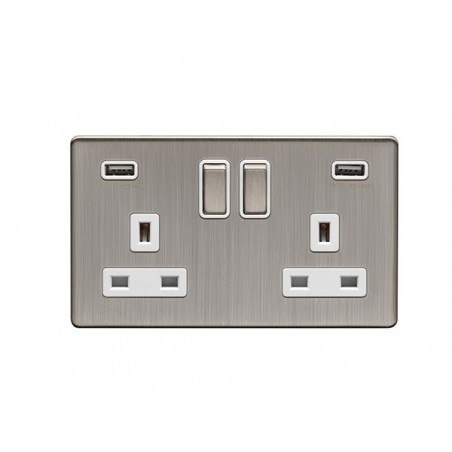 Eurolite ECSN2USBSNW 13A 2 Gang Screwless Flatplate Satin Nickel/Brushed Nickel Switched Socket With USB