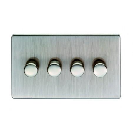 Eurolite ECSN4DLEDSNW 4 Gang 2 Way Screwless Flatplate Satin Nickel/Brushed Nickel Dimmer Switch (Push On/Off)