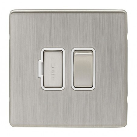 Eurolite ECSNSWFSNW 13A Double Pole Screwless Flatplate Satin Nickel/Brushed Nickel Switched Fuse Spur