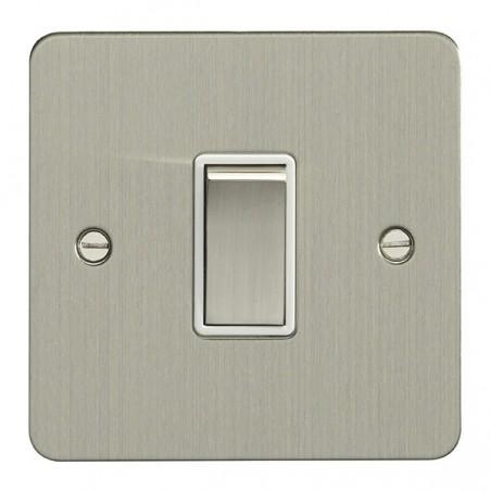 Eurolite EFSSS1SWSSW 10A 1 Gang 2 Way Flatplate Satin Stainless Steel/Brushed Chrome Switch