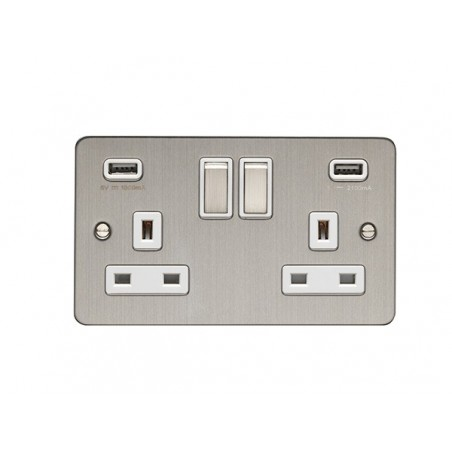 Eurolite EFSSS2USBSSW 13A 2 Gang Flat Satin Stainless Steel/Brushed Chrome Socket With USB