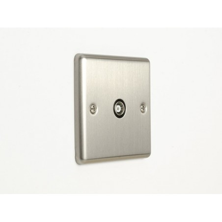 Eurolite EN1TVSSB 1 Gang Satin Stainless Steel/Brushed Chrome Enhance Tv Coaxial Socket