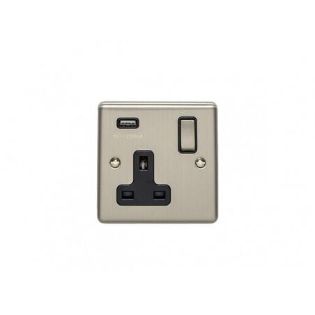 Eurolite EN1USBSSB 13A 1 Gang Satin Stainless Steel/Brushed Chrome Enhance Switched Socket With USB