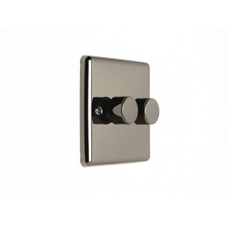 Eurolite EN2DLEDBN 2 Gang 2 Way LED/400W Black Nickel Enhance Dimmer Switch with Matching Knob (Push On/Off)