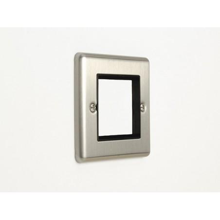 Eurolite EN2MODSSB 1 Gang 2 Module Satin Stainless Steel/Brushed Chrome Enhance Frame