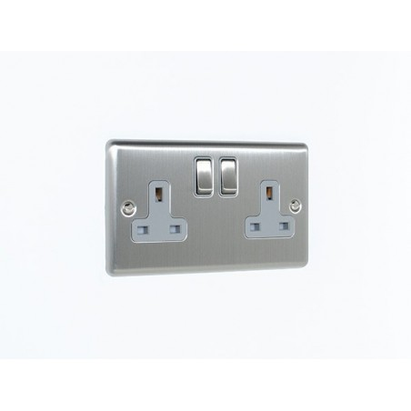 Eurolite EN2SOSSG 13A 2 Gang Double Pole Satin Stainless Steel/Brushed Chrome Enhance Switched Socket