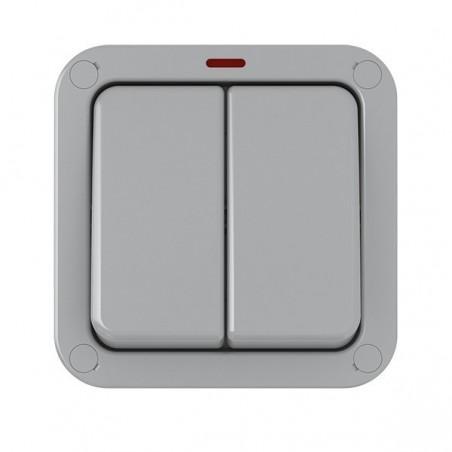 Eurolite WP3022 20A 2 Gang 2 Way Weatherproof Switch With Neon IP66 Eurolite - 3