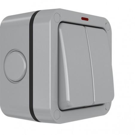 Eurolite WP3022 20A 2 Gang 2 Way Weatherproof Switch With Neon IP66