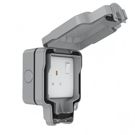 Eurolite WP4090 13A 1 Gang Weatherproof Outdoor Double Pole Switched Socket IP66