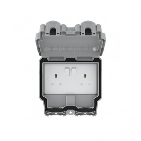 Eurolite WP4100 13A 2 Gang Double Pole Lockable Weatherproof Outdoor Switched Socket IP66