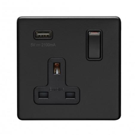 Eurolite ECMB1USBB 13A 1 Gang Double Pole Screwless Flatplate Matt Black Switched Socket With 2.1 A USB Outlet