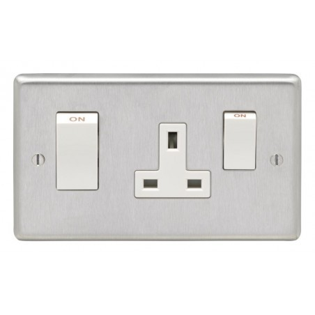 Eurolite SSS45ASWASW 45A Double Pole Round Edge Satin Stainless Steel/Brushed Chrome Cooker Switch With 13A Socket