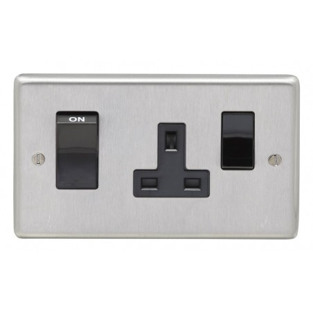 Eurolite SSS45ASWASB 45A Double Pole Round Edge Satin Stainless Steel/brushed Chrome Cooker Switch With 13A Socket